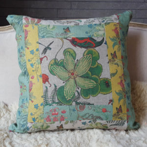 Grass of Parnassus patchwork cushion