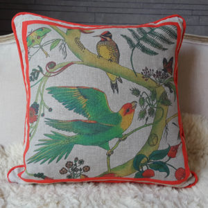 Carolina parakeet patchwork cushion