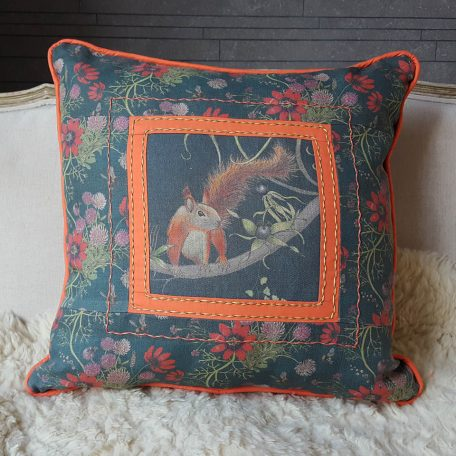 Patchwork cushion Kate Coleman red squirrel