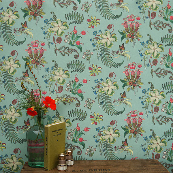 Posies Verdigris Wallpaper