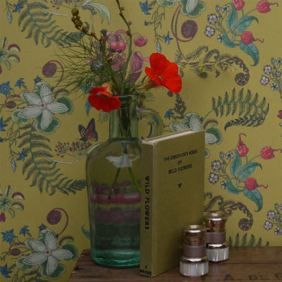 Carolina Posies Wallpaper in Cornbread Stock