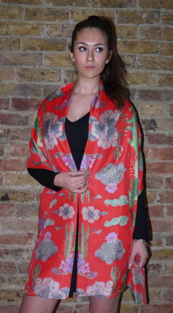 Cactus Mexicanos Silk Wrap Front