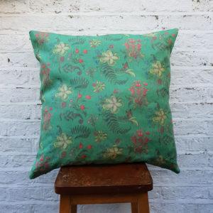 Carolina Posies Cushion in Jade