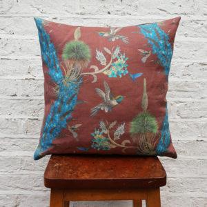 Hummingbirds Cushion in Oxblood