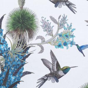 Cream Hummingbirds wallpaper remnant