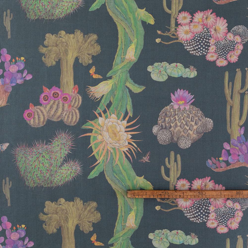 Cactus Mexicanos Carbon linen