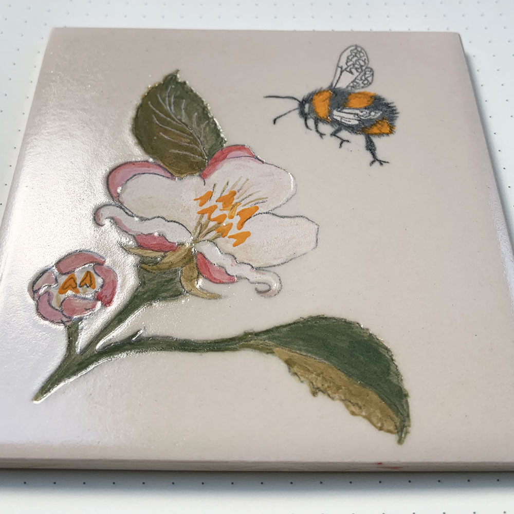 Apple blossom and bumblebee tile
